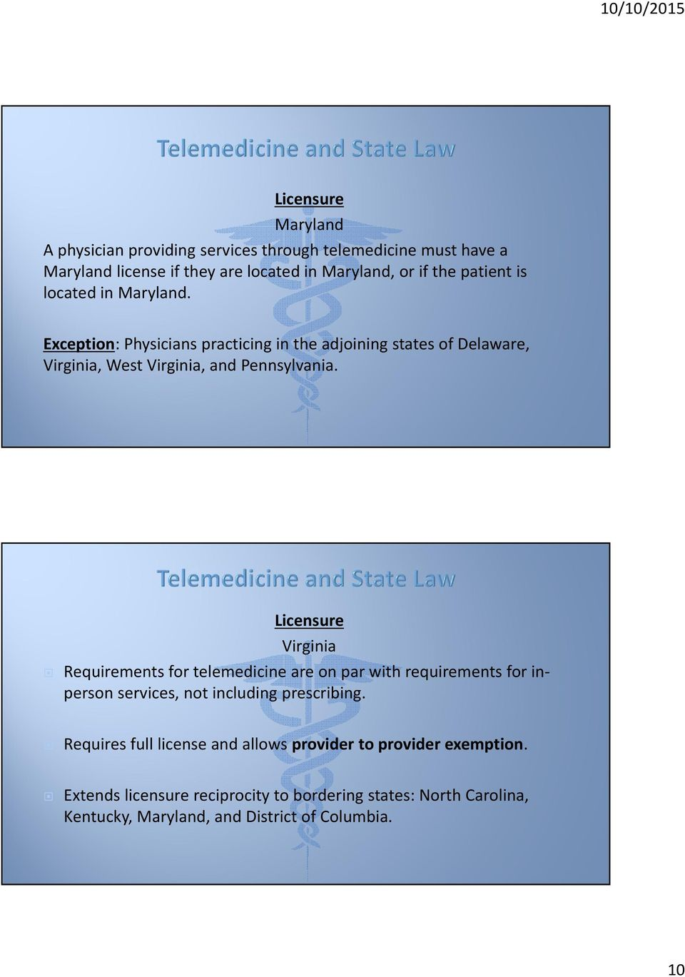 Licensure Virginia Requirements for telemedicine are on par with requirements for inperson services, not including prescribing.