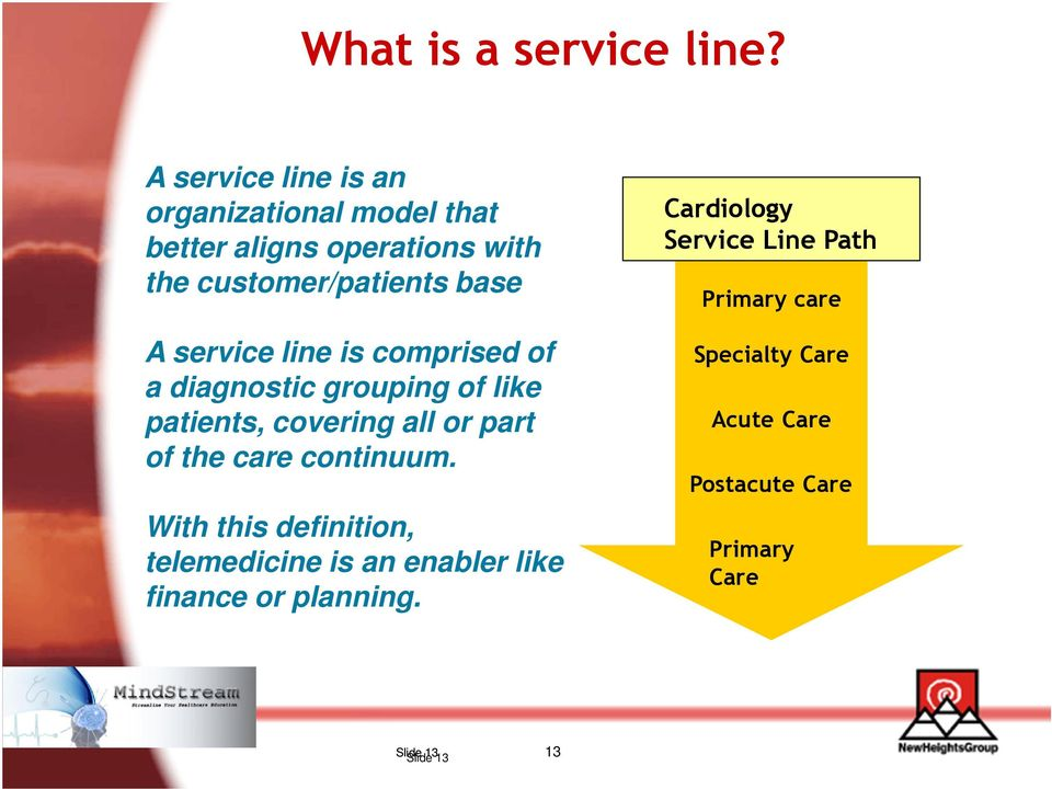 service line is comprised of a diagnostic grouping of like patients, covering all or part of the care