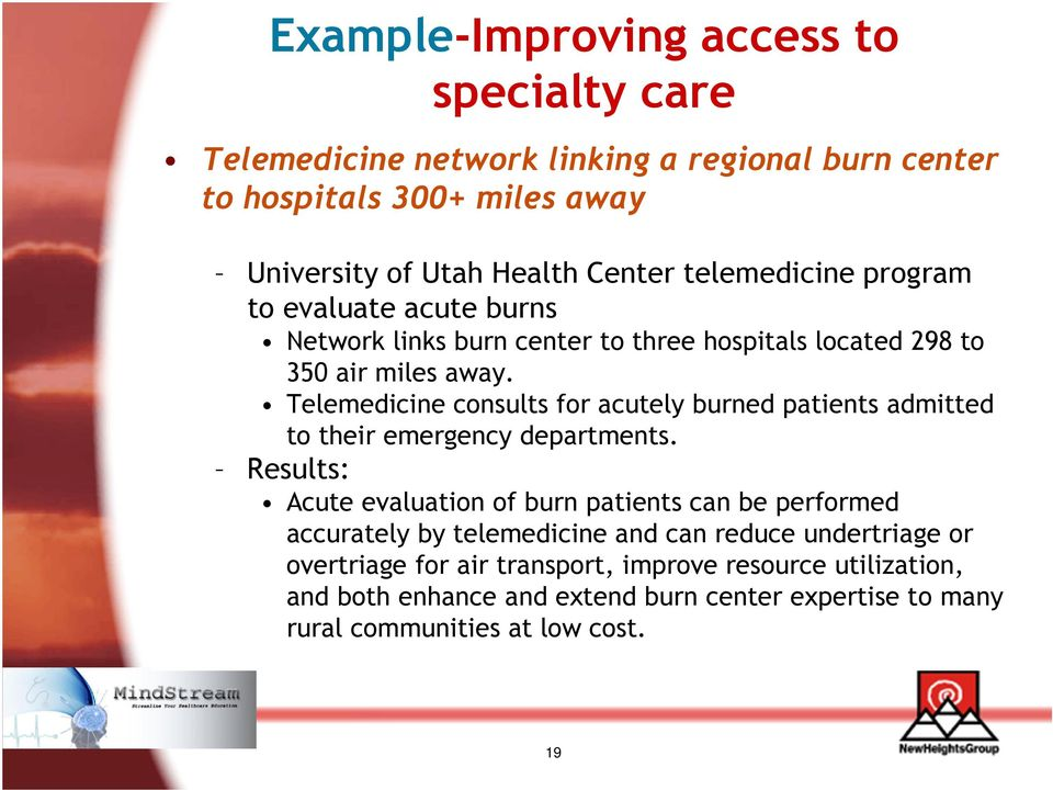 Telemedicine consults for acutely burned patients admitted to their emergency departments.