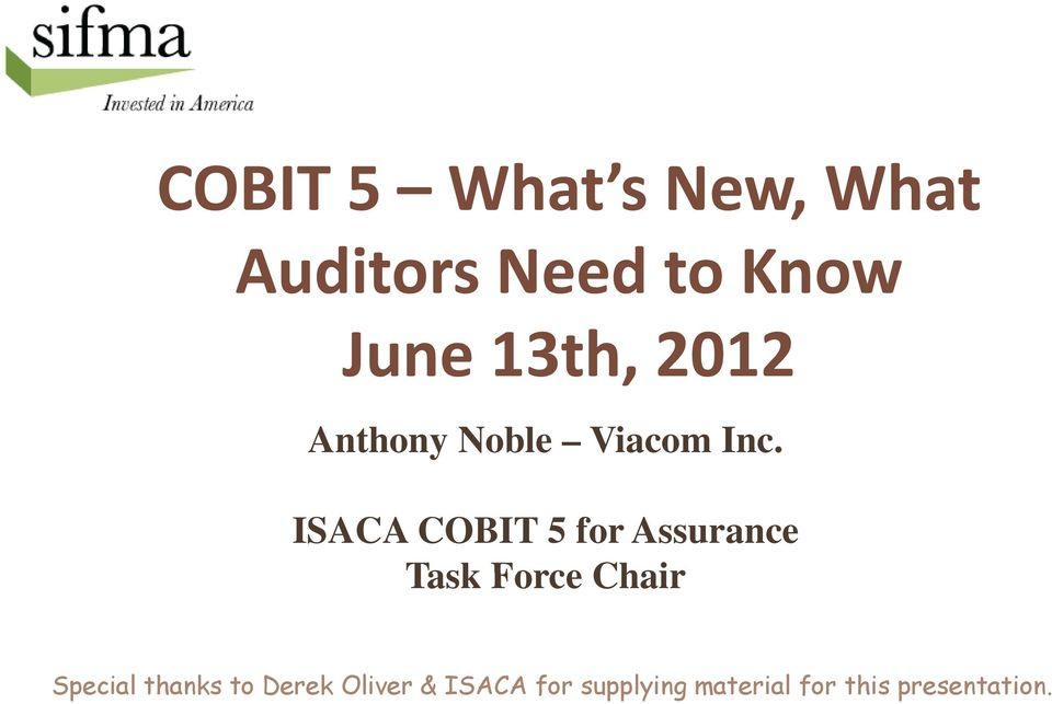 ISACA COBIT 5 for Assurance Task Force Chair Special
