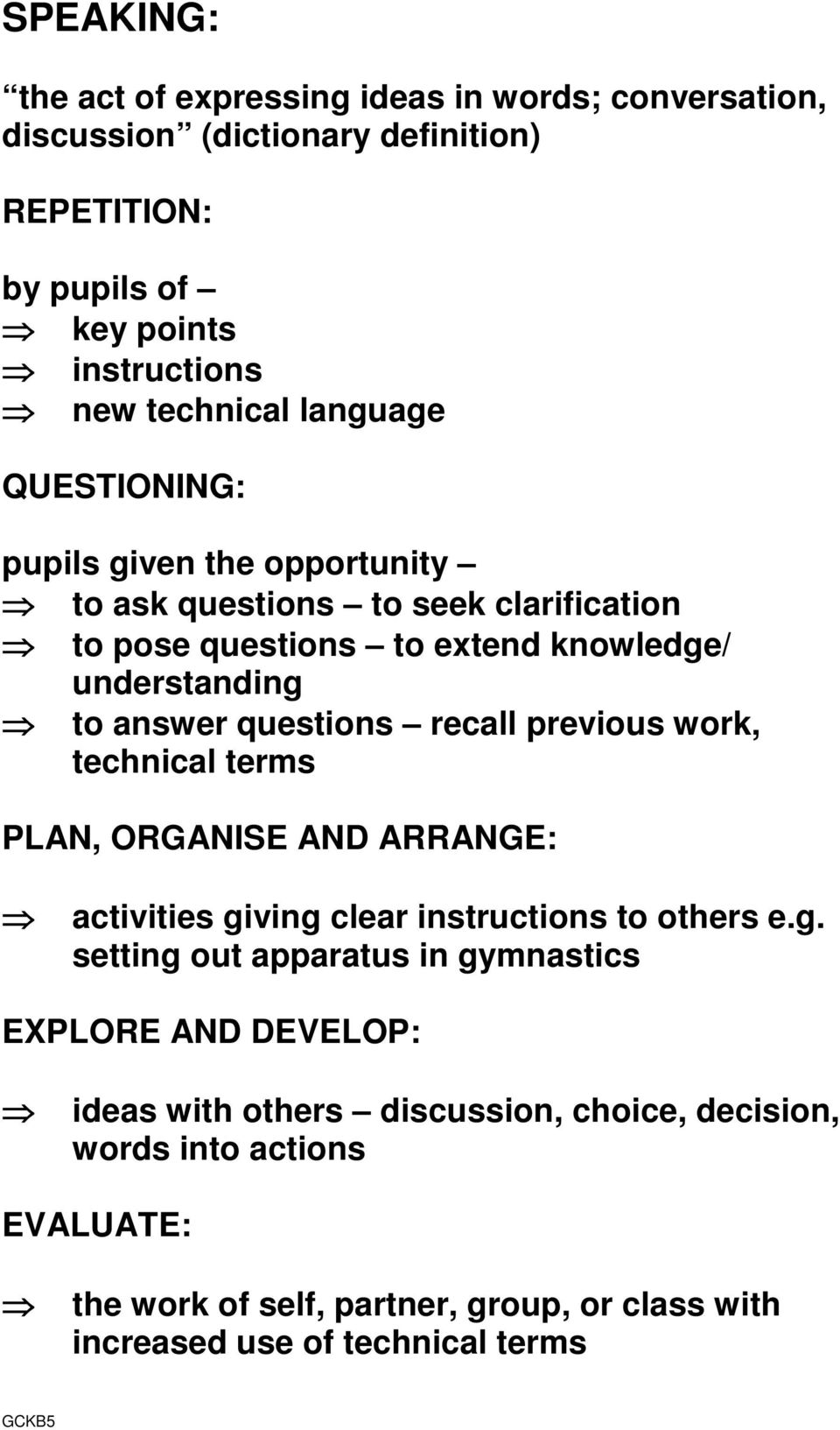 recall previous work, technical terms PLAN, ORGANISE AND ARRANGE: activities gi