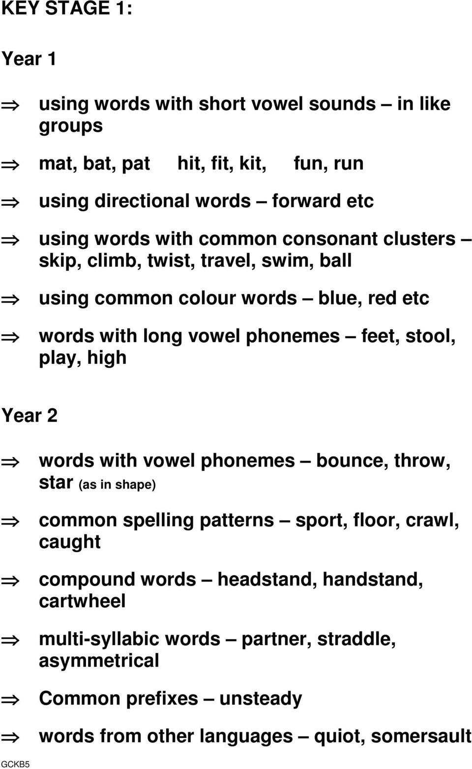 stool, play, high Year 2 words with vowel phonemes bounce, throw, star (as in shape) common spelling patterns sport, floor, crawl, caught compound words