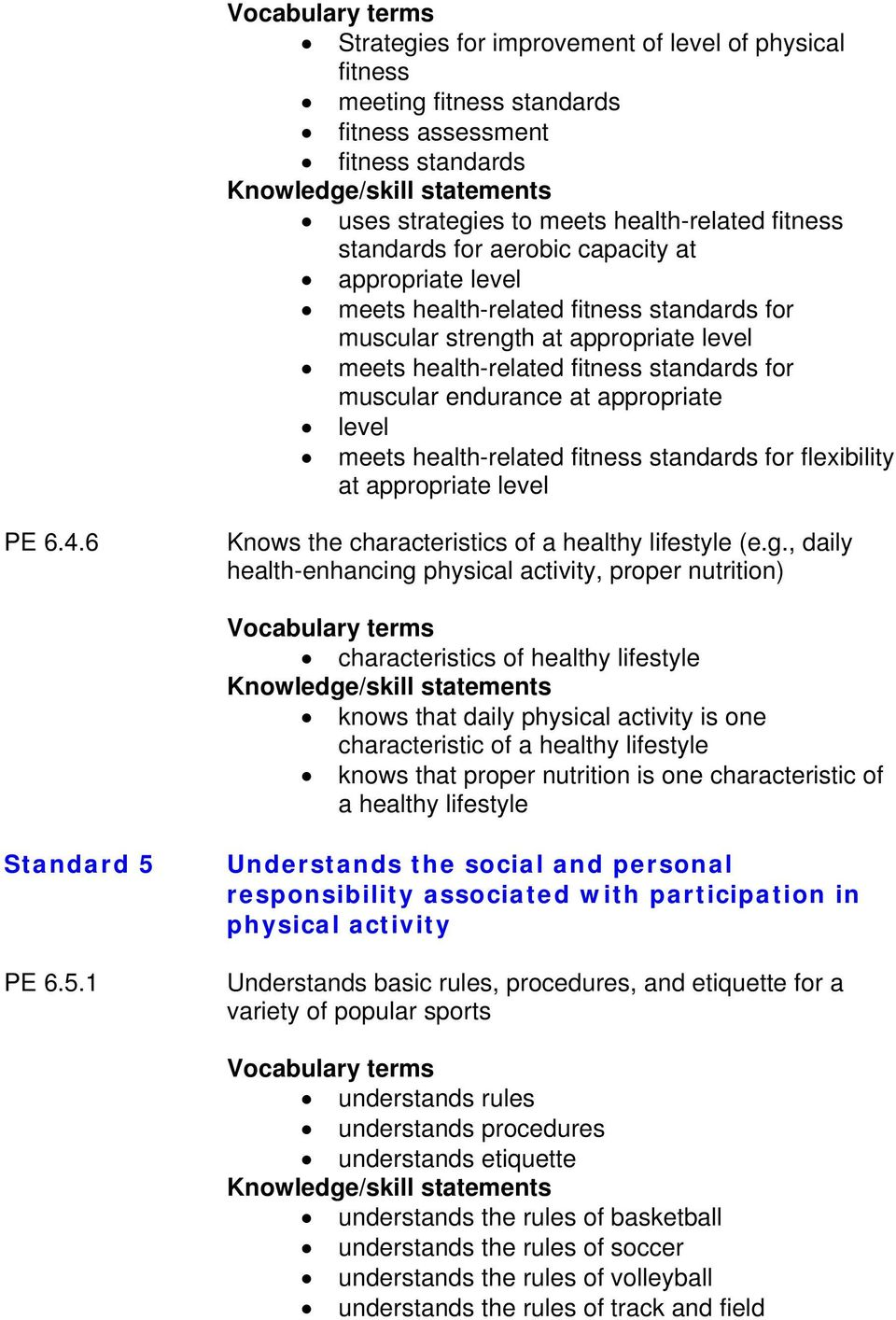health-related fitness standards for flexibility at appropriate level PE 6.4.6 Knows the characteristics of a healthy lifestyle (e.g.