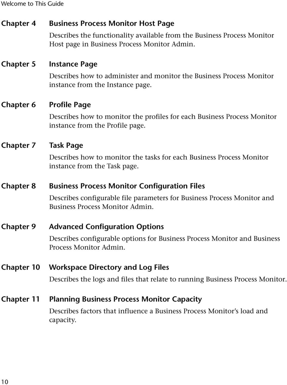 Profile Page Describes how to monitor the profiles for each Business Process Monitor instance from the Profile page.