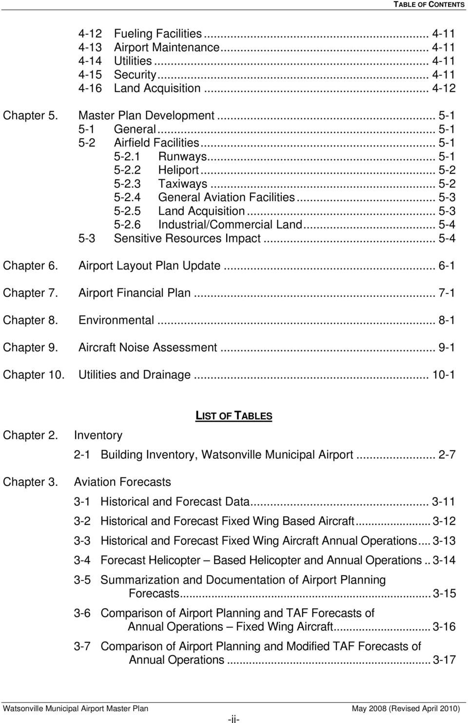 .. 5-4 5-3 Sensitive Resources Impact... 5-4 Chapter 6. Airport Layout Plan Update... 6-1 Chapter 7. Airport Financial Plan... 7-1 Chapter 8. Environmental... 8-1 Chapter 9. Aircraft Noise Assessment.