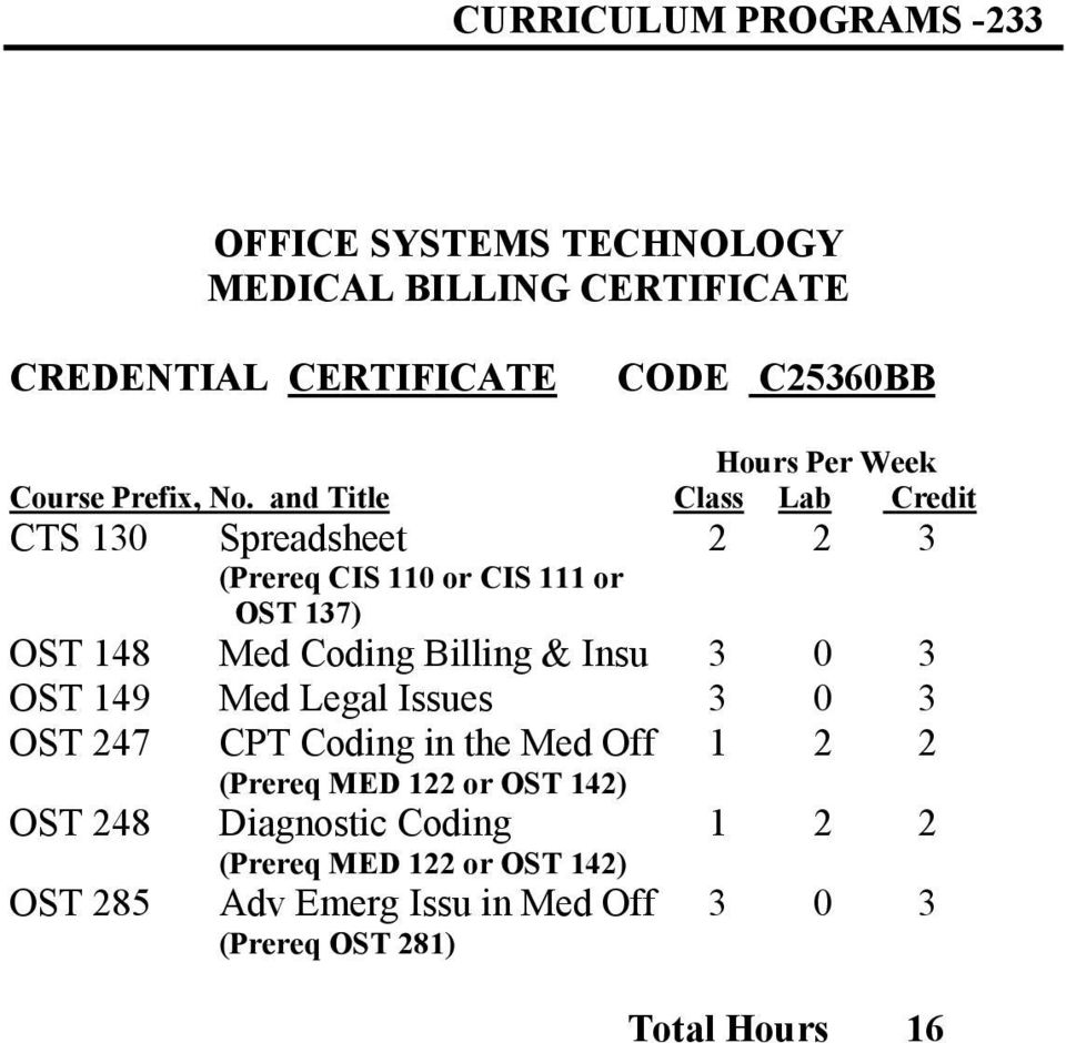 Billing & Insu 3 0 3 OST 149 Med Legal Issues 3 0 3 OST 247 CPT Coding in the Med Off 1 2 2 (Prereq MED 122 or OST 142)