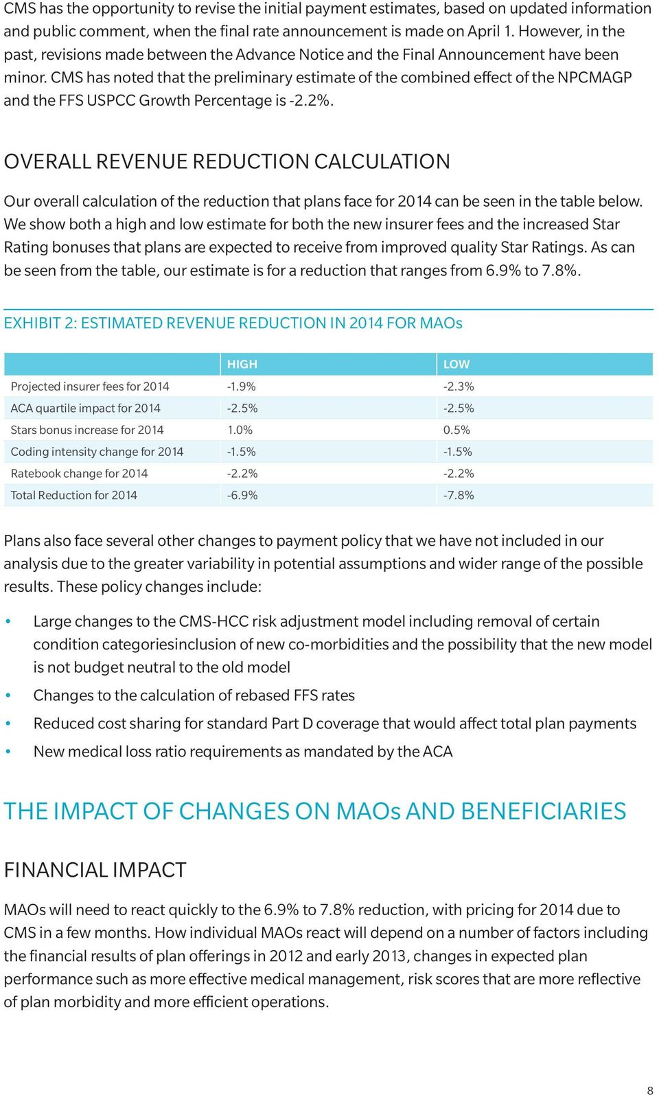 CMS has noted that the preliminary estimate of the combined effect of the NPCMAGP and the FFS USPCC Growth Percentage is -2.2%.