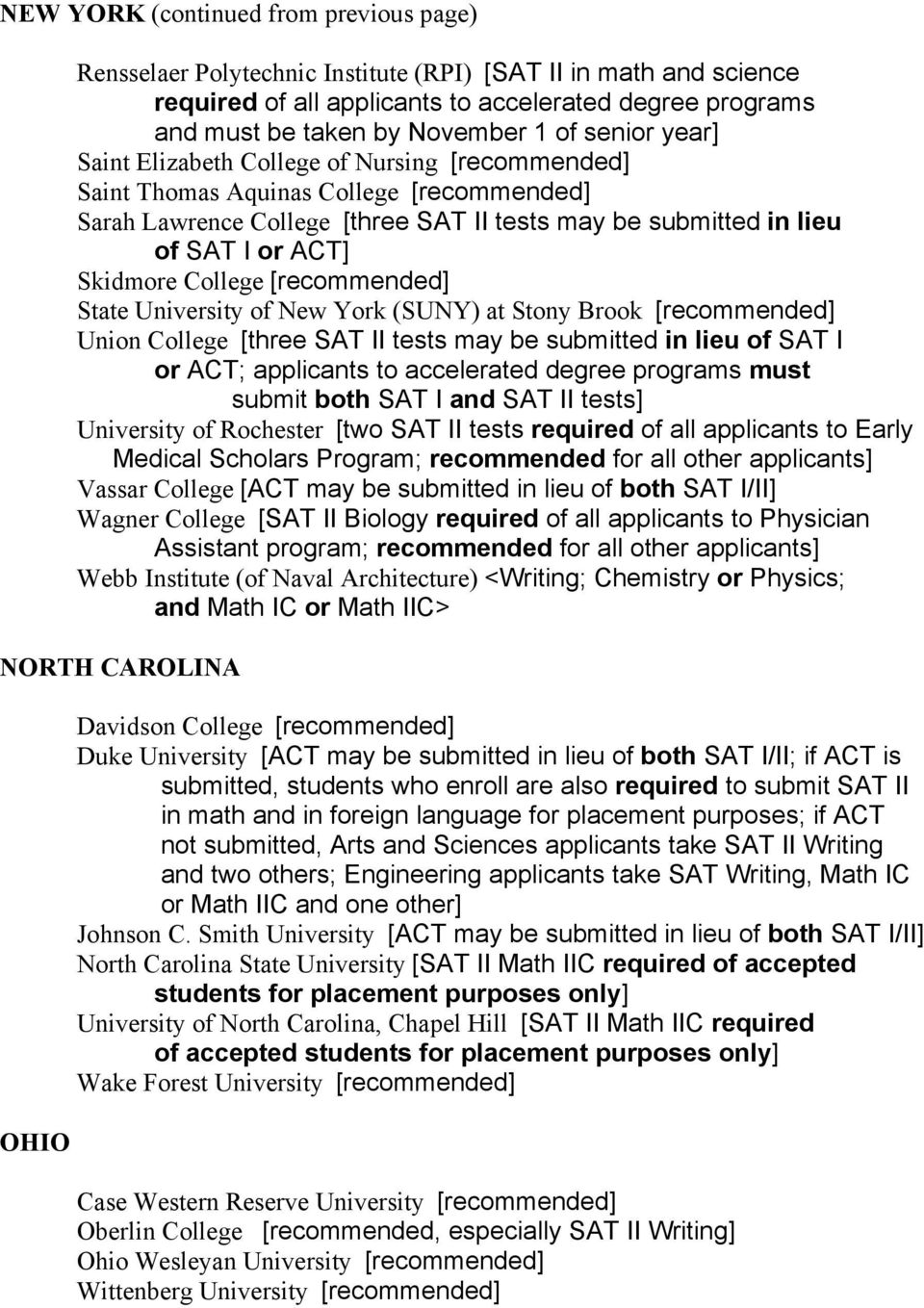 College [recommended] State University of New York (SUNY) at Stony Brook [recommended] Union College [three SAT II tests may be submitted in lieu of SAT I or ACT; applicants to accelerated degree
