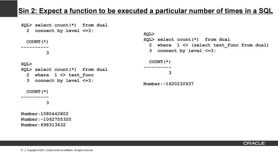 SQL> SQL> select count(*) from dual 2 where 1 <> (select test_func from dual) 3 connect by level <=3; COUNT(*) ---------- 3