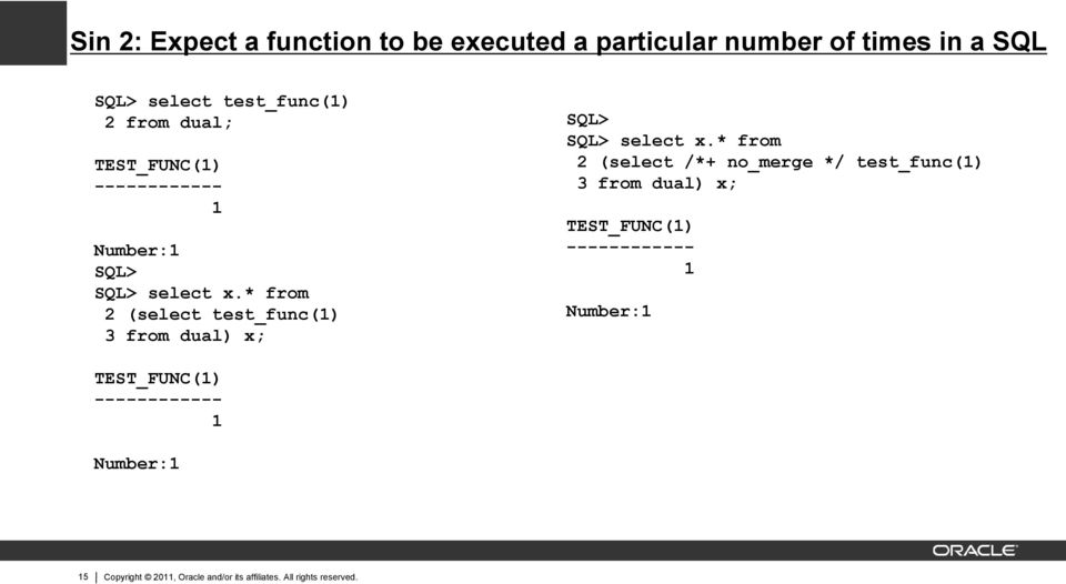 * from 2 (select test_func(1) 3 from dual) x; SQL> SQL> select x.