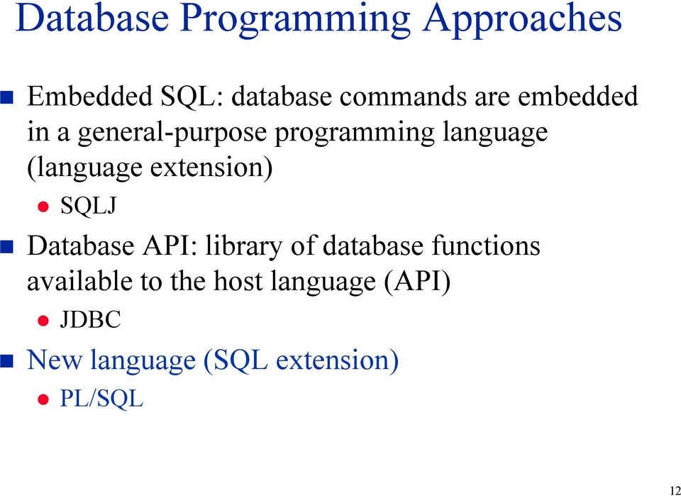 extension) SQLJ Database API: library of database functions