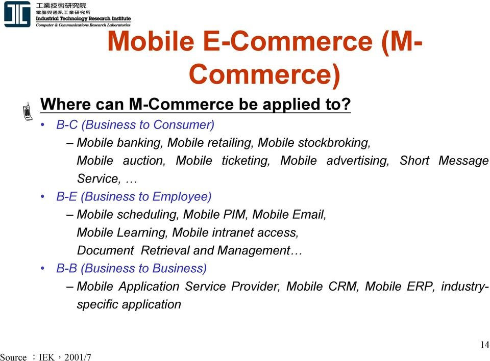advertising, Short Message Service, B-E (Business to Employee) Mobile scheduling, Mobile PIM, Mobile Email, Mobile Learning,