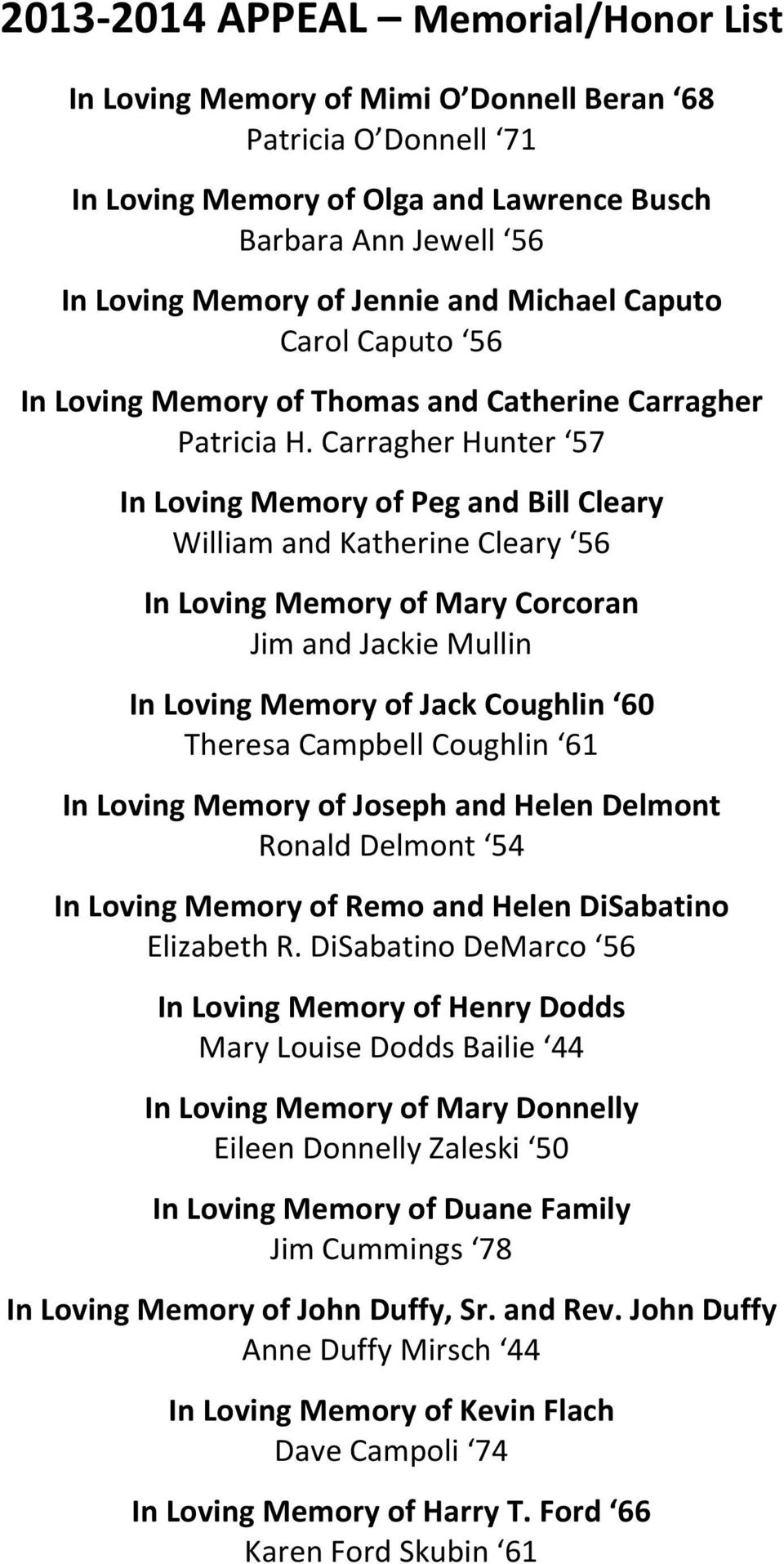 Carragher Hunter 57 In Loving Memory of Peg and Bill Cleary William and Katherine Cleary 56 In Loving Memory of Mary Corcoran Jim and Jackie Mullin In Loving Memory of Jack Coughlin 60 Theresa