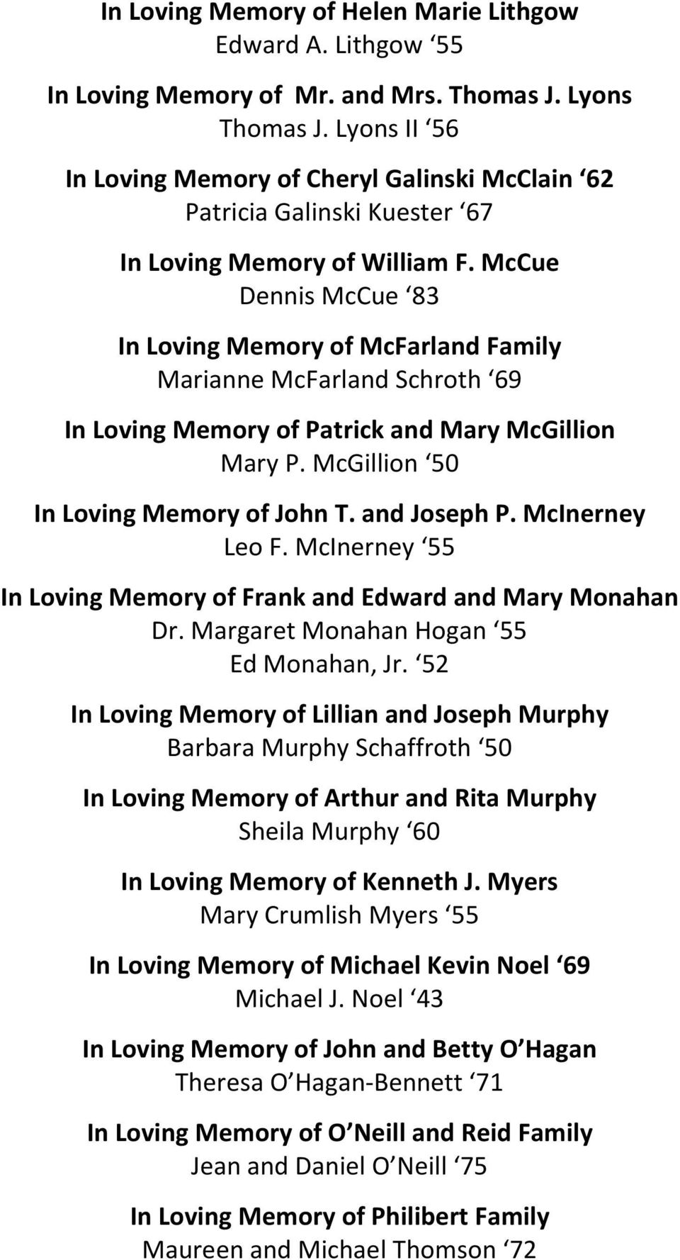 McCue Dennis McCue 83 In Loving Memory of McFarland Family Marianne McFarland Schroth 69 In Loving Memory of Patrick and Mary McGillion Mary P. McGillion 50 In Loving Memory of John T. and Joseph P.