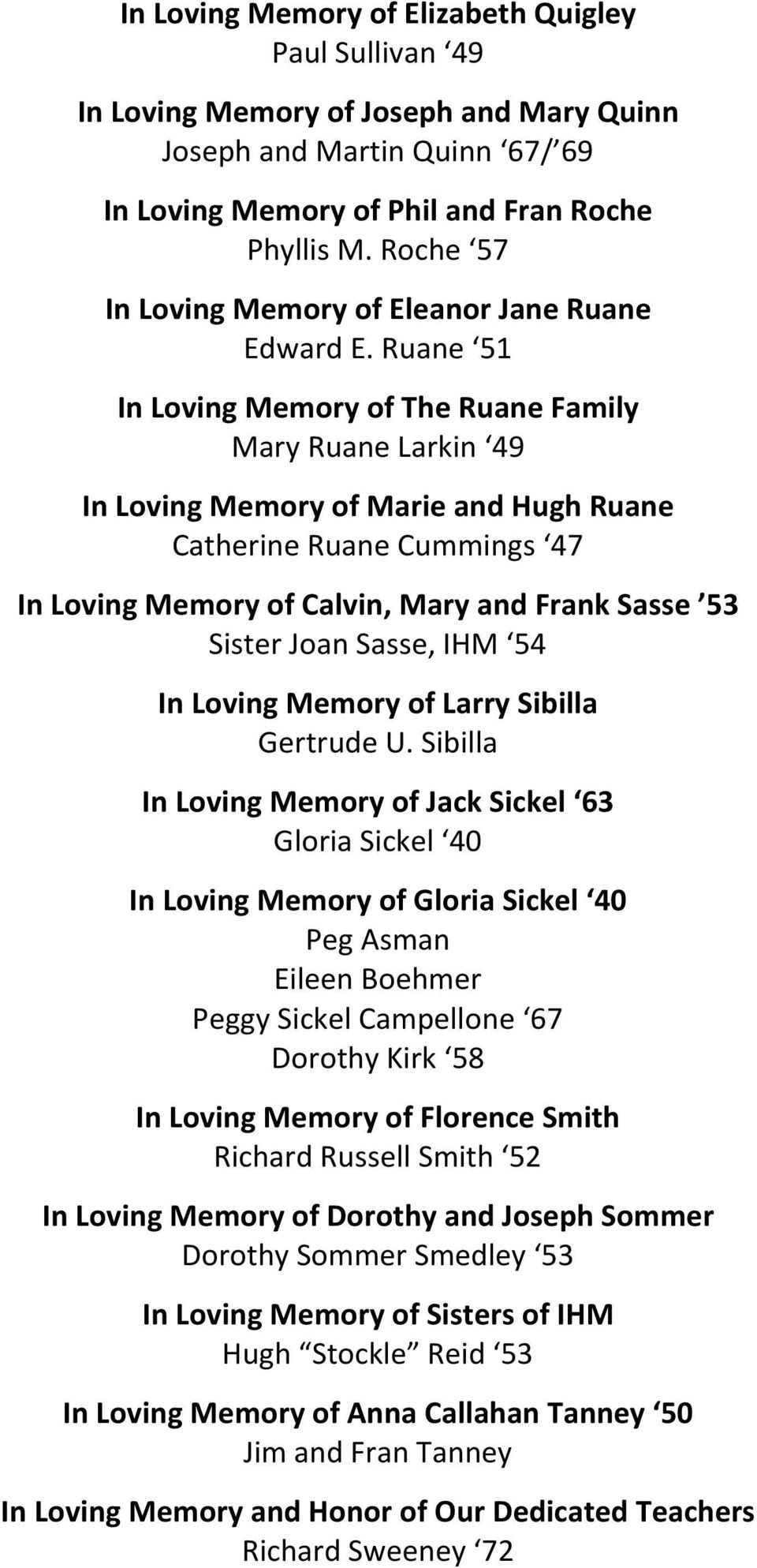 Ruane 51 In Loving Memory of The Ruane Family Mary Ruane Larkin 49 In Loving Memory of Marie and Hugh Ruane Catherine Ruane Cummings 47 In Loving Memory of Calvin, Mary and Frank Sasse 53 Sister Joan