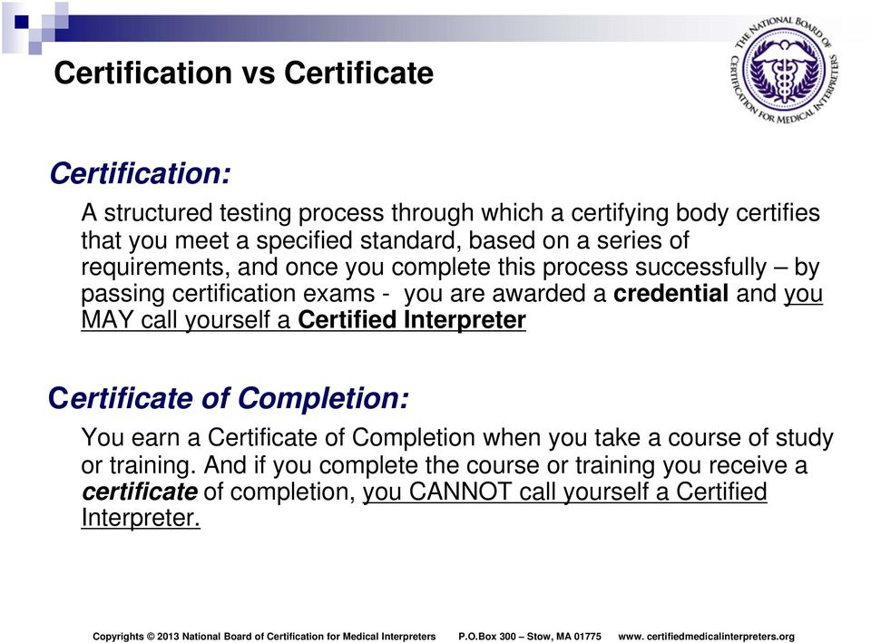 The National Board of Certification for Medical Interpreters ...