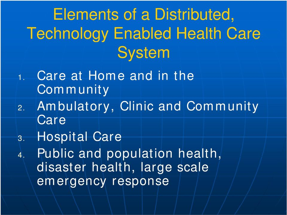 Ambulatory, Clinic and Community Care 3. Hospital Care 4.