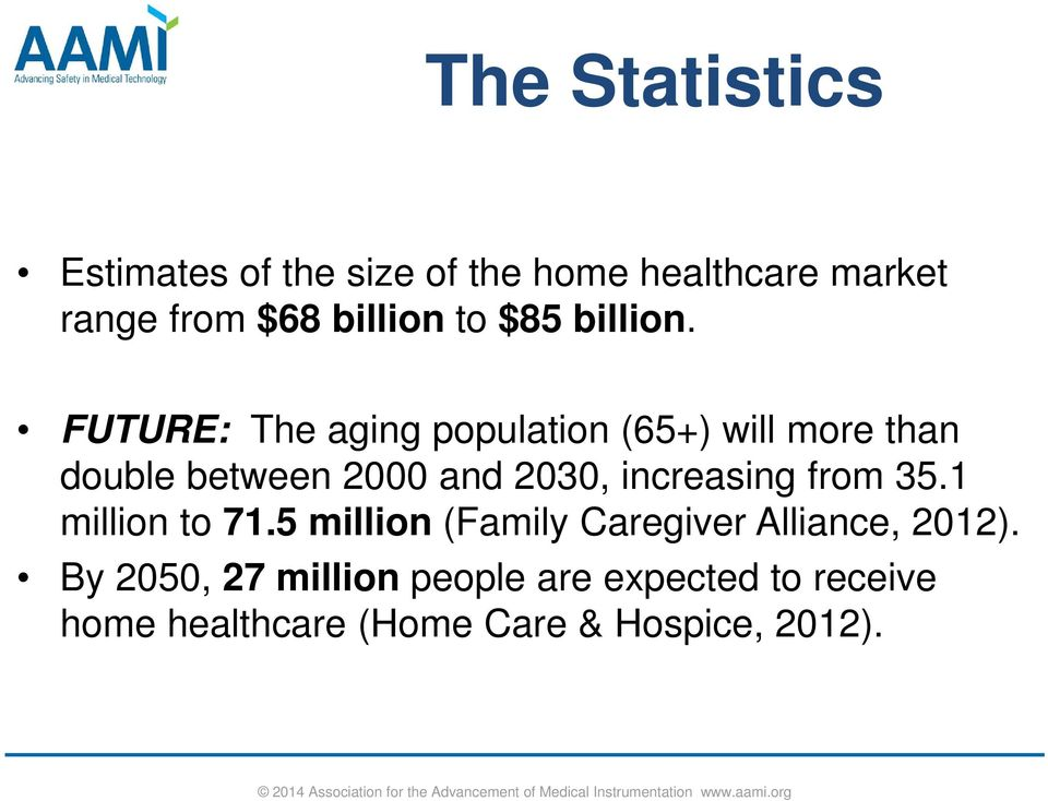 FUTURE: The aging population (65+) will more than double between 2000 and 2030, increasing