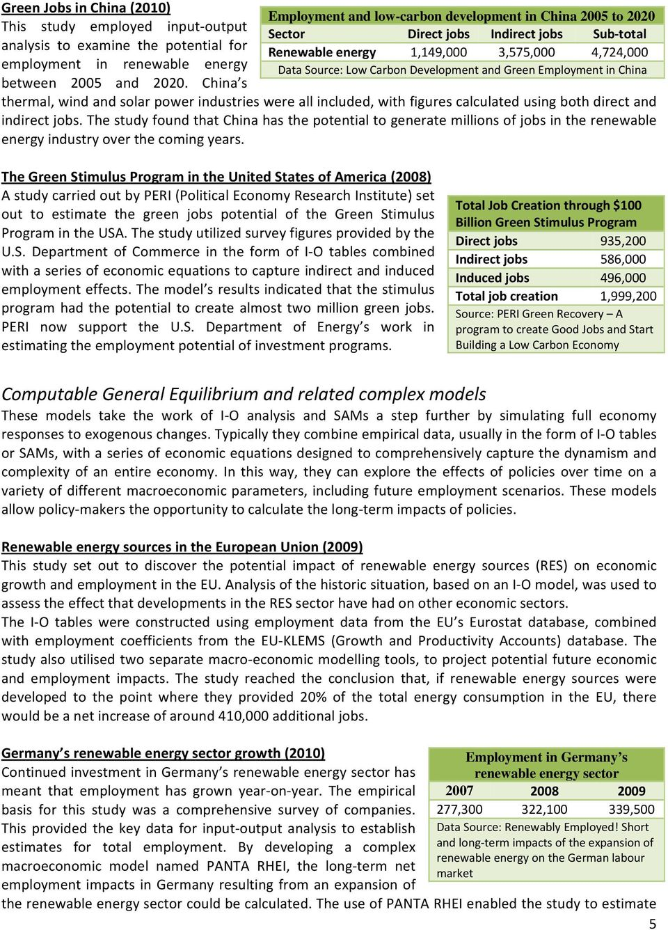 Green Employment in China thermal, wind and solar power industries were all included, with figures calculated using both direct and indirect jobs.