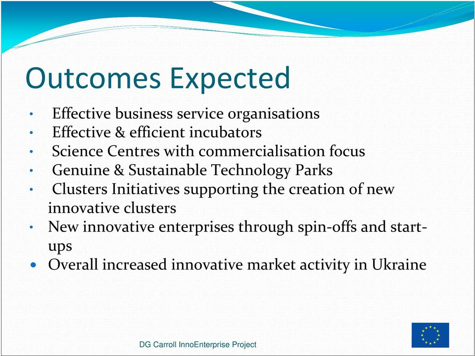 Initiatives supporting the creation of new innovative clusters New innovative enterprises through