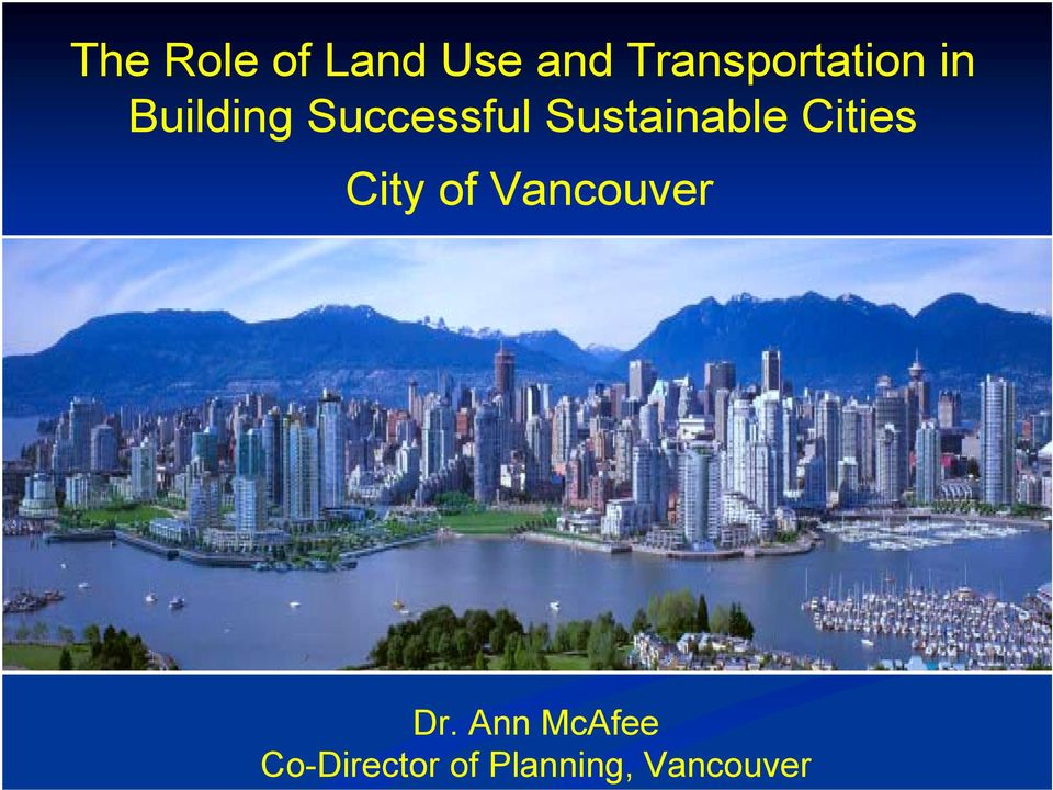 Sustainable Cities City of Vancouver