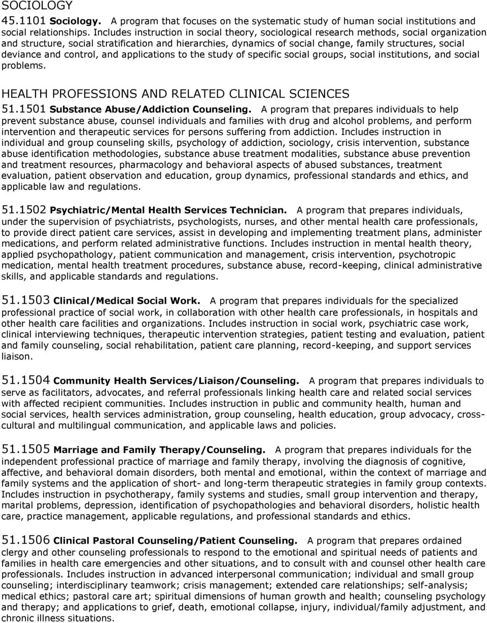 deviance and control, and applications to the study of specific social groups, social institutions, and social problems. HEALTH PROFESSIONS AND RELATED CLINICAL SCIENCES 51.