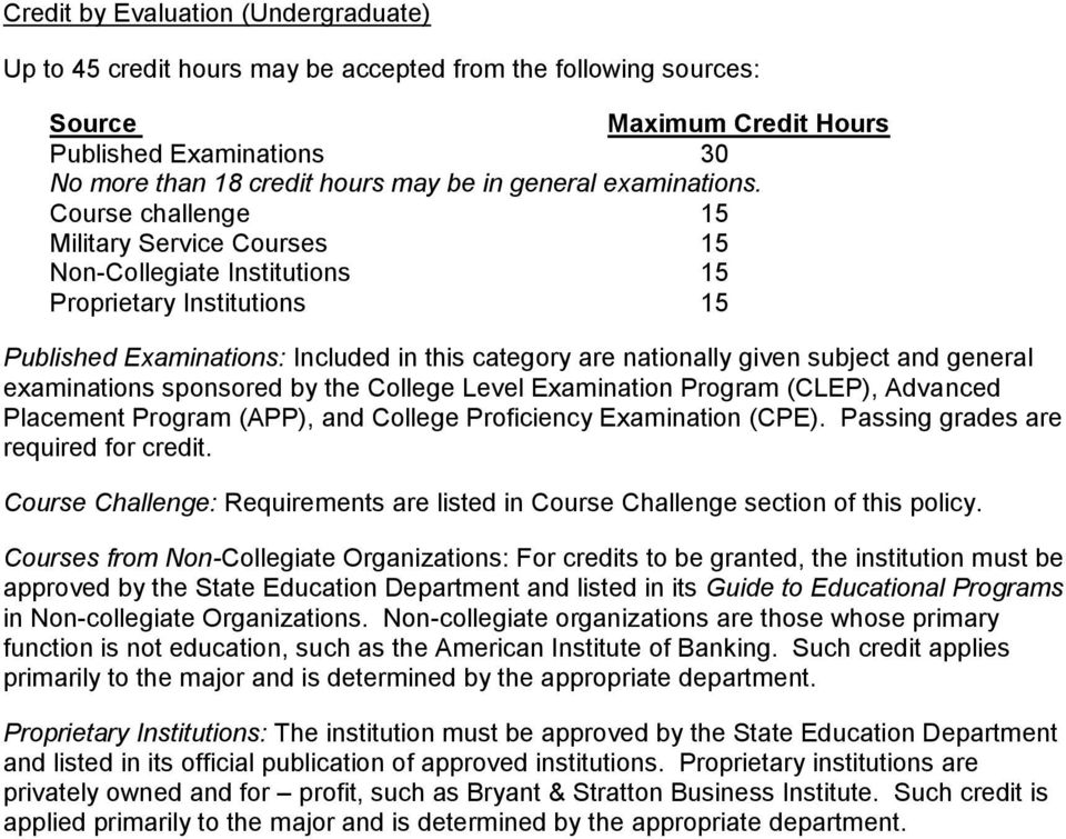 Course challenge 15 Military Service Courses 15 Non-Collegiate Institutions 15 Proprietary Institutions 15 Published Examinations: Included in this category are nationally given subject and general