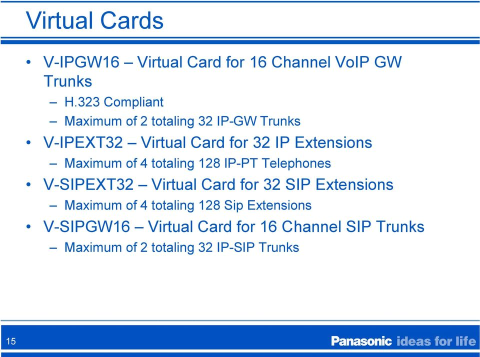 Maximum of 4 totaling 128 IP-PT Telephones V-SIPEXT32 Virtual Card for 32 SIP Extensions