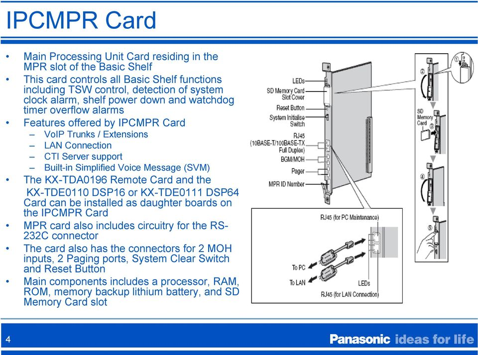 Remote Card and the KX-TDE0110 DSP16 or KX-TDE0111 DSP64 Card can be installed as daughter boards on the IPCMPR Card MPR card also includes circuitry for the RS- 232C connector The card also