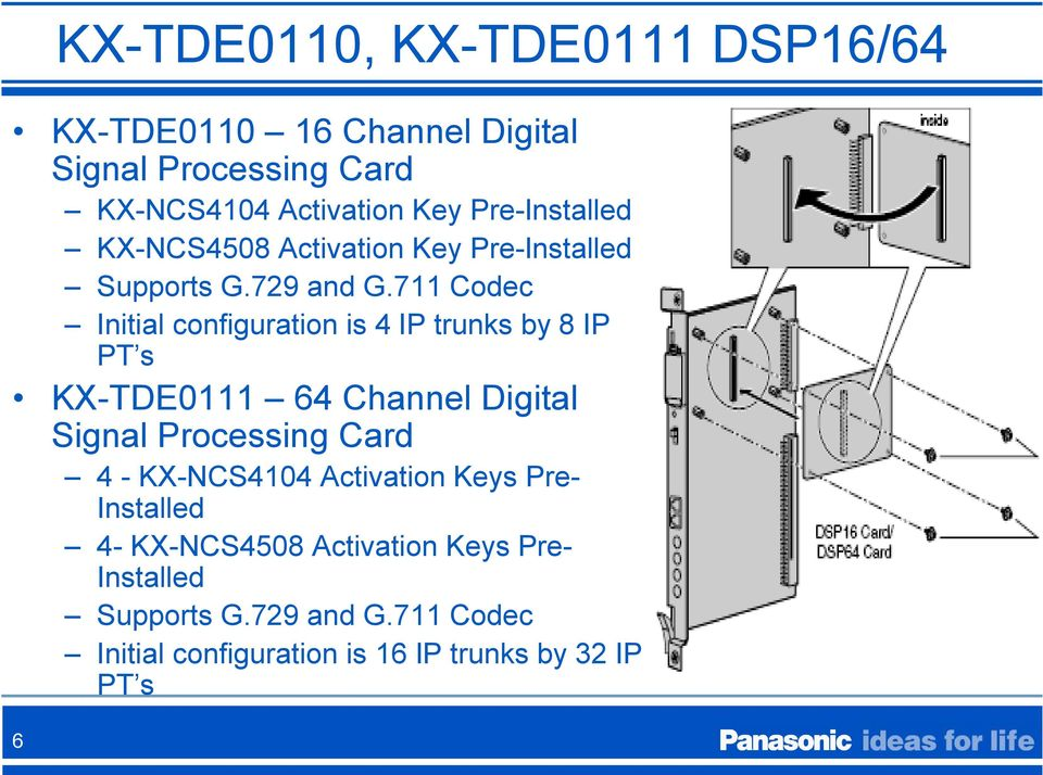 711 Codec Initial configuration is 4 IP trunks by 8 IP PT s KX-TDE0111 64 Channel Digital Signal Processing Card 4 -