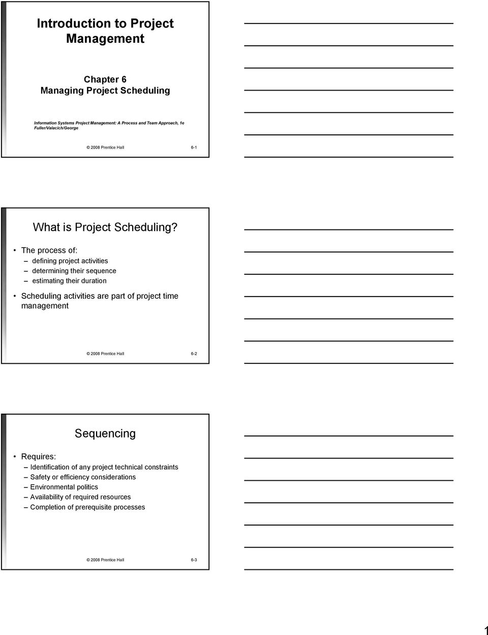 The process of: defining project activities determining their sequence estimating their duration Scheduling activities are part of project time management