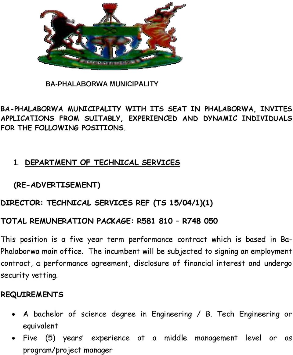 performance contract which is based in Ba- Phalaborwa main office.