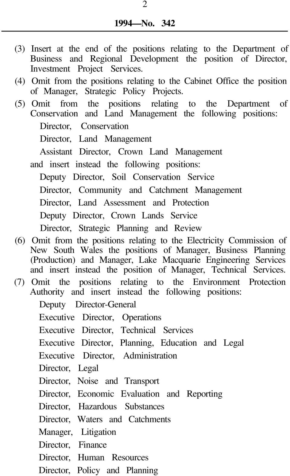 (5) Omit from the positions relating to the Department of Conservation and Land Management the Director, Conservation Director, Land Management Assistant Director, Crown Land Management Deputy