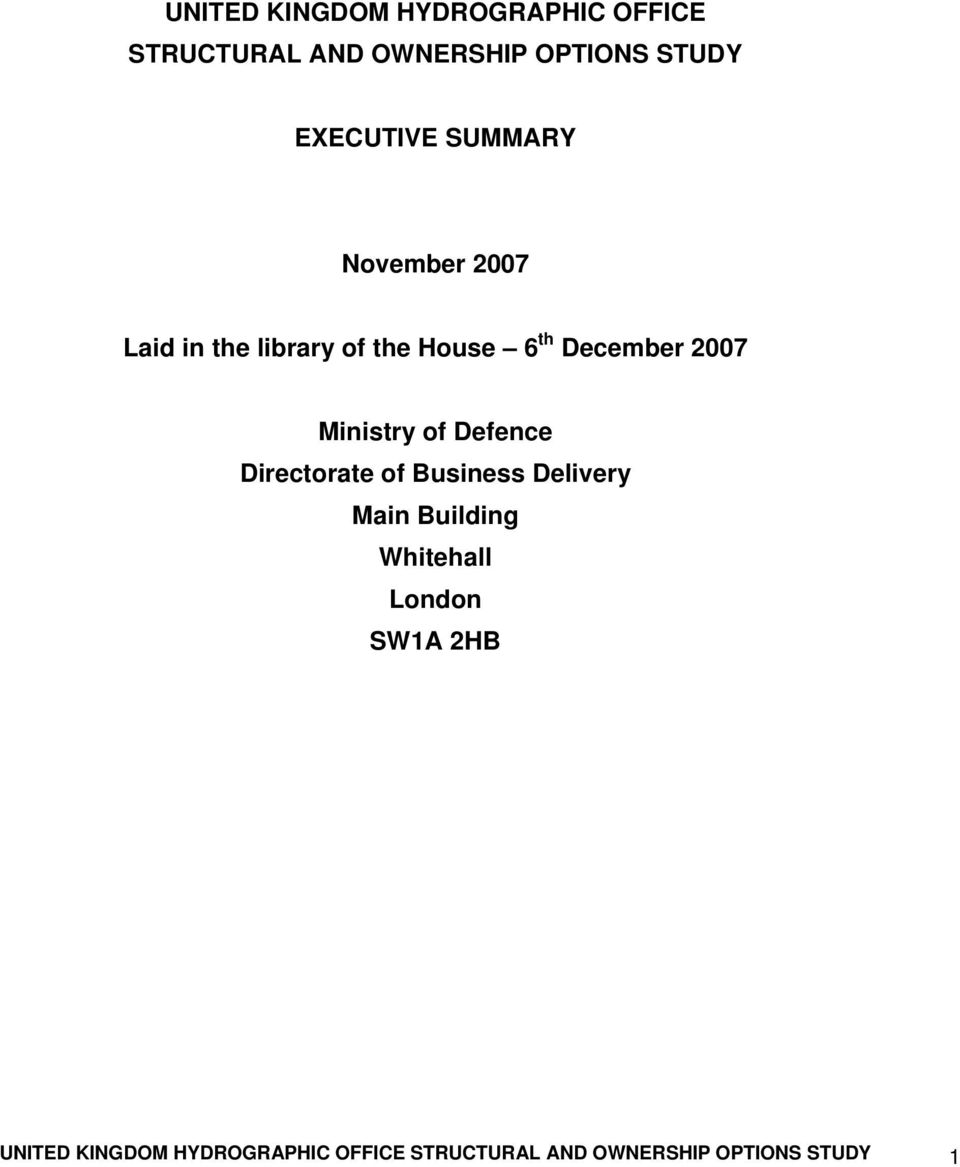 2007 Ministry of Defence Directorate of Business Delivery Main Building Whitehall