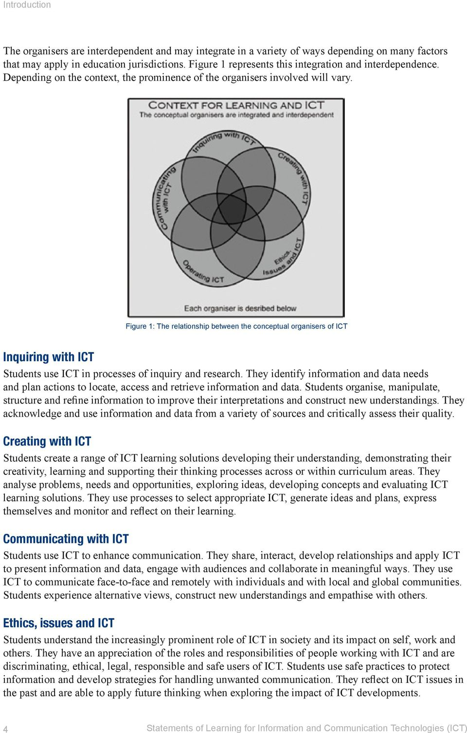Figure 1: The relationship between the conceptual organisers of ICT Inquiring with ICT Students use ICT in processes of inquiry and research.