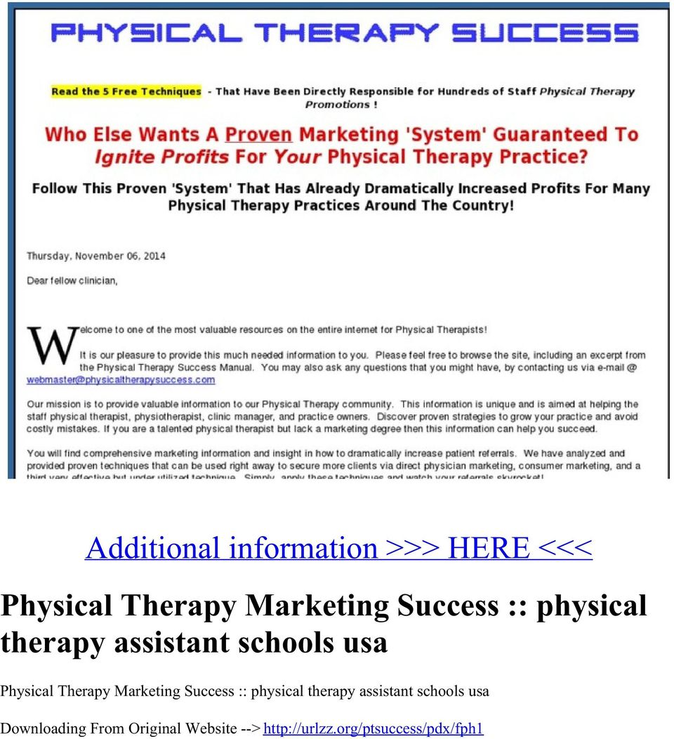 Therapy Marketing Success :: physical therapy assistant schools