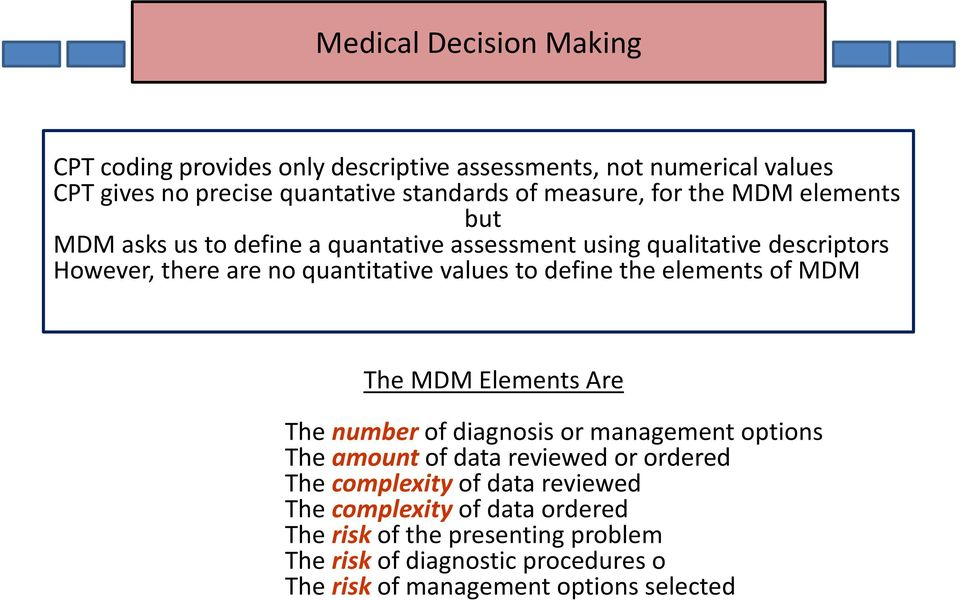 define the elements of MDM The MDM Elements Are The number of diagnosis or management options The amount of data reviewed or ordered The complexity of