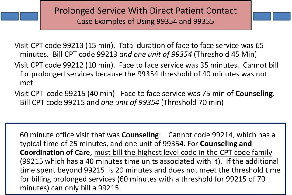 Cannot bill for prolonged services because the 99354 threshold of 40 minutes was not met Visit CPT code 99215 (40 min). Face to face service was 75 min of Counseling.