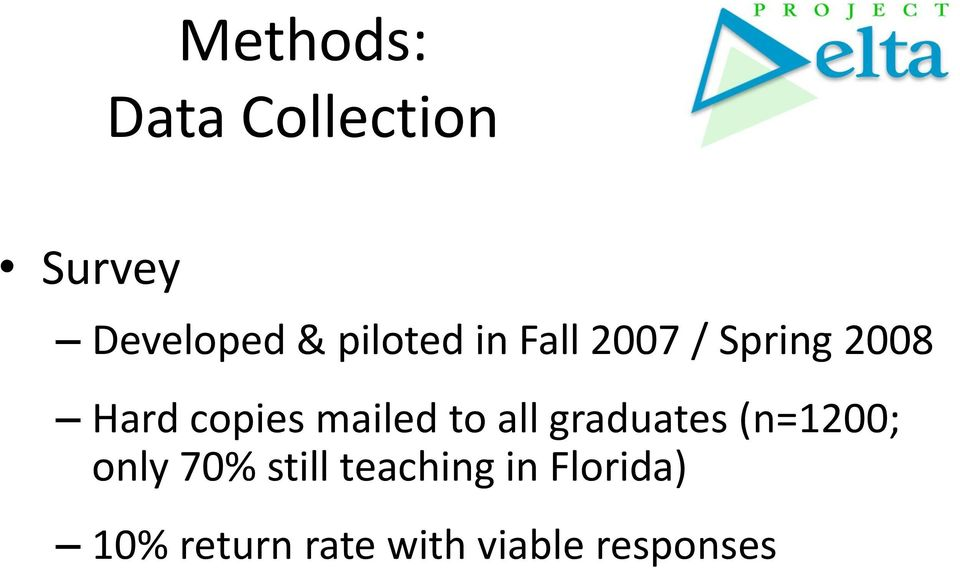 mailed to all graduates (n=1200; only 70% still