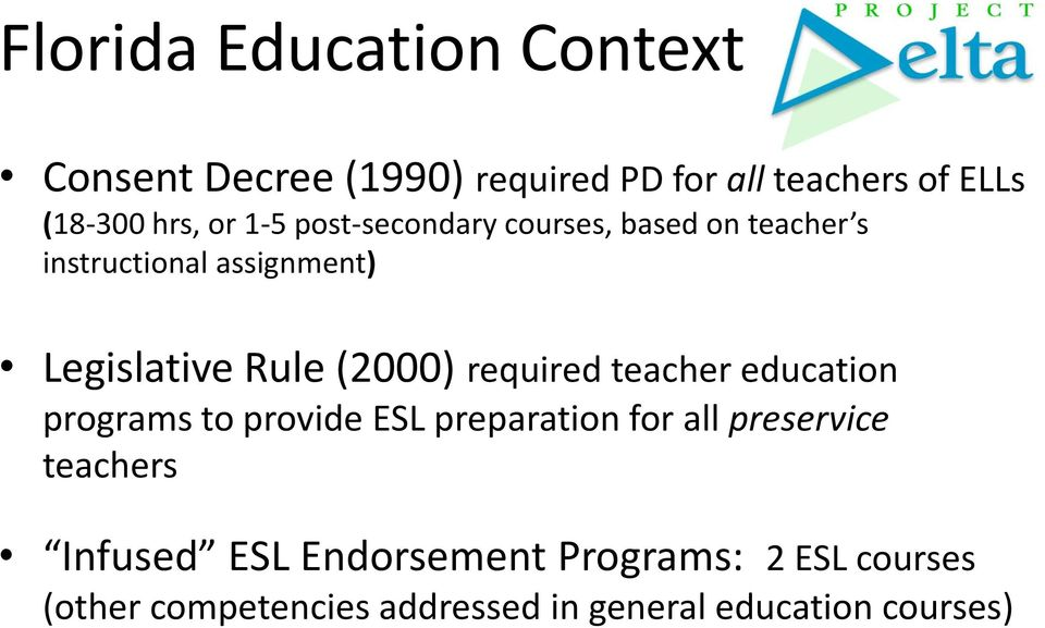 (2000) required teacher education programs to provide ESL preparation for all preservice teachers