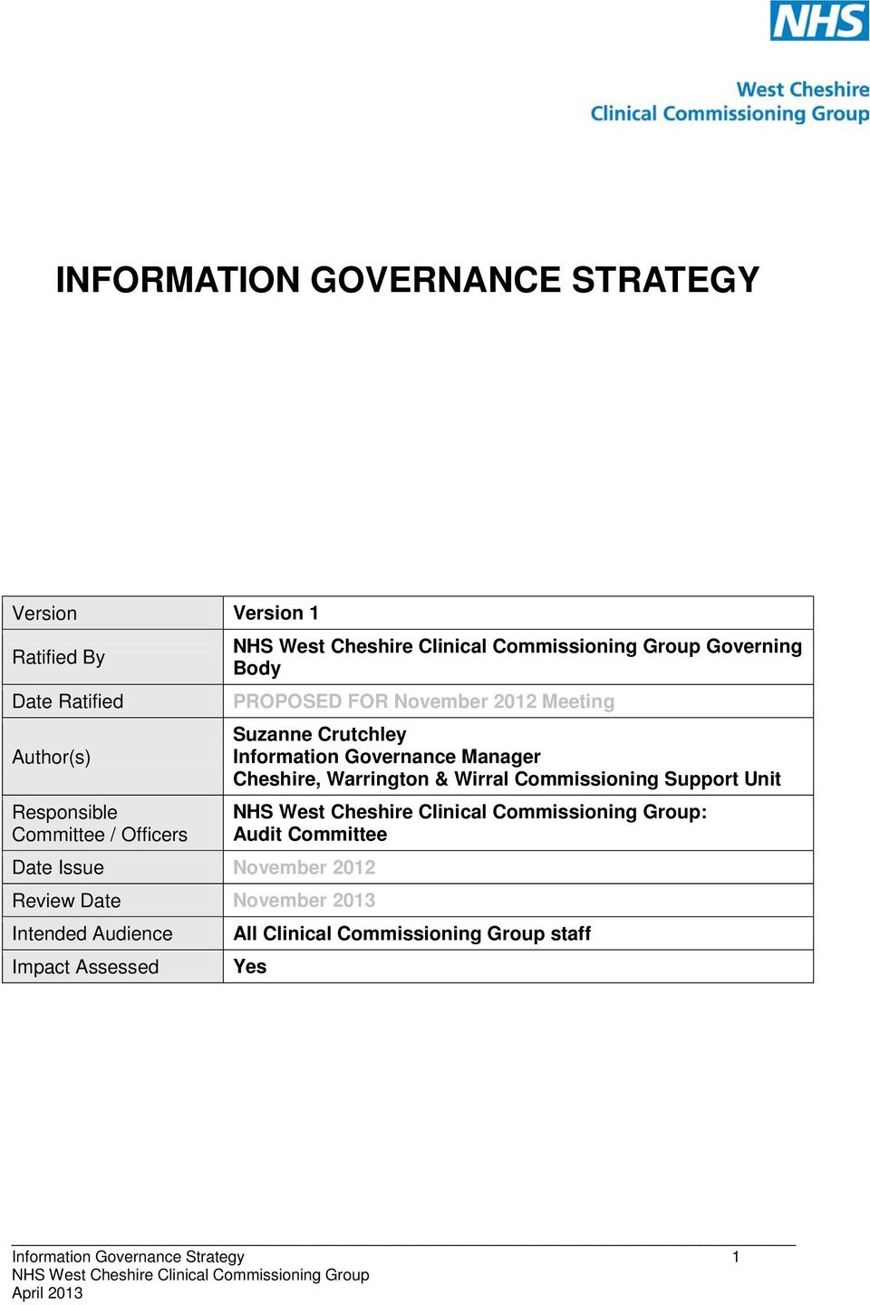 PROPOSED FOR November 2012 Meeting Suzanne Crutchley Information Governance Manager Cheshire, Warrington & Wirral