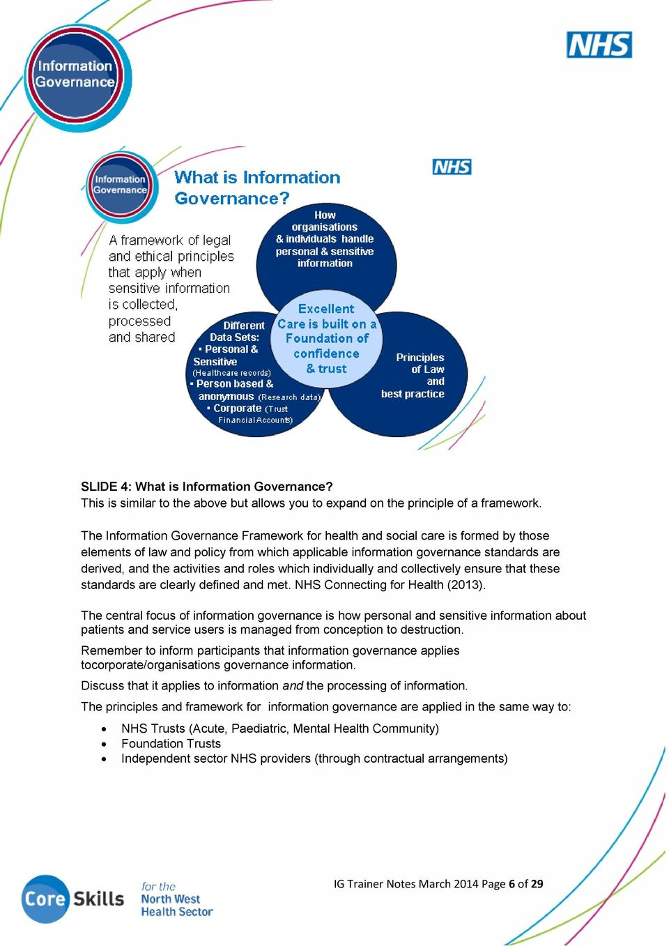 and roles which individually and collectively ensure that these standards are clearly defined and met. NHS Connecting for Health (2013).