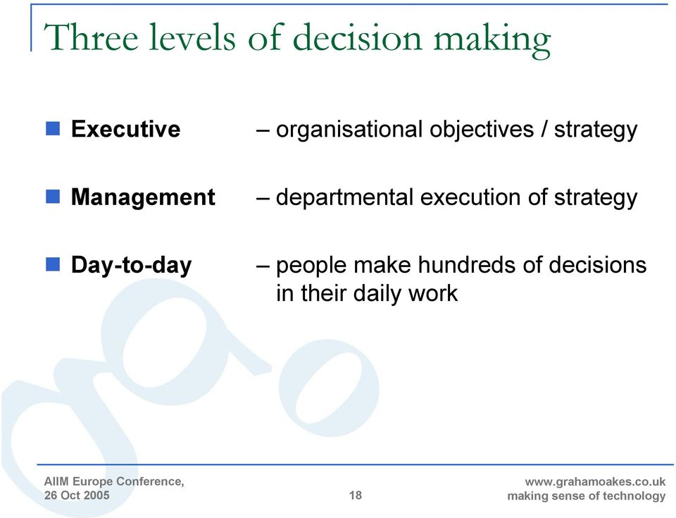 departmental execution of strategy Day-to-day