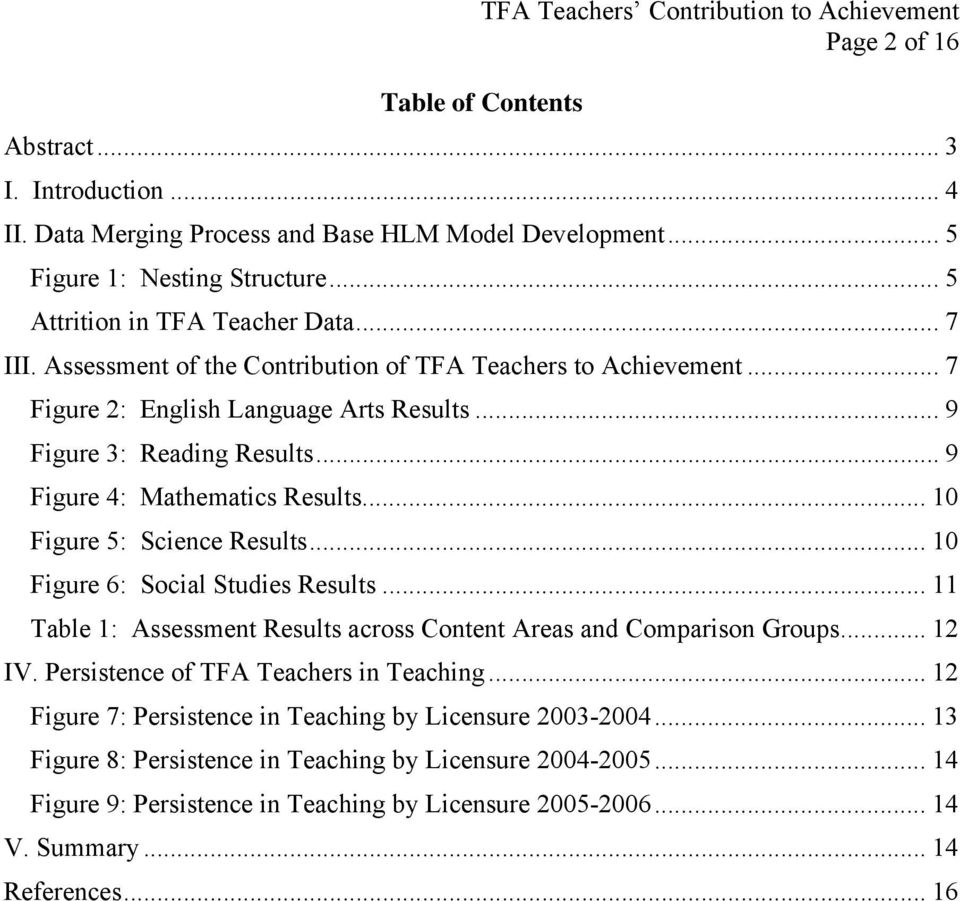 .. 10 Figure 5: Science Results... 10 Figure 6: Social Studies Results... 11 Table 1: Assessment Results across Content Areas and Comparison Groups... 12 IV. Persistence of TFA Teachers in Teaching.