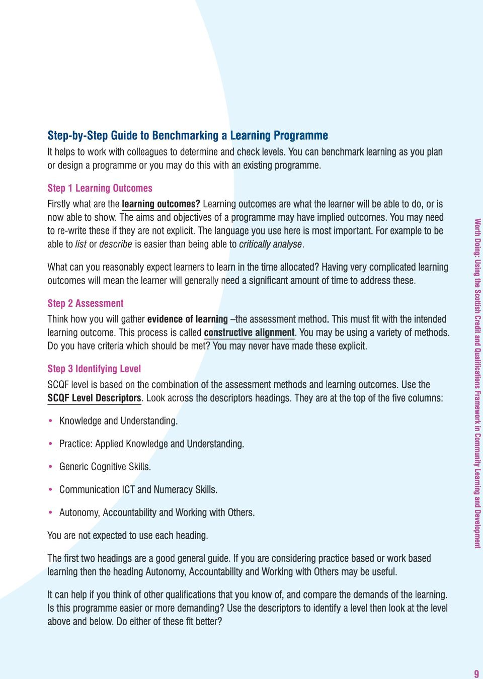 Learning outcomes are what the learner will be able to do, or is now able to show. The aims and objectives of a programme may have implied outcomes.