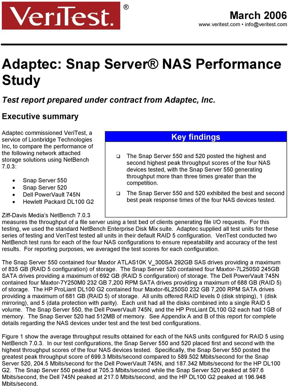3: Snap Server 550 Snap Server 520 PowerVault 745N Hewlett Packard DL100 G2 Key findings The Snap Server 550 and 520 posted the highest and second highest peak throughput scores of the four NAS