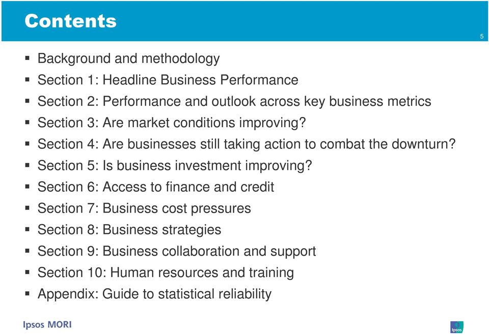 Section 5: Is business investment improving?