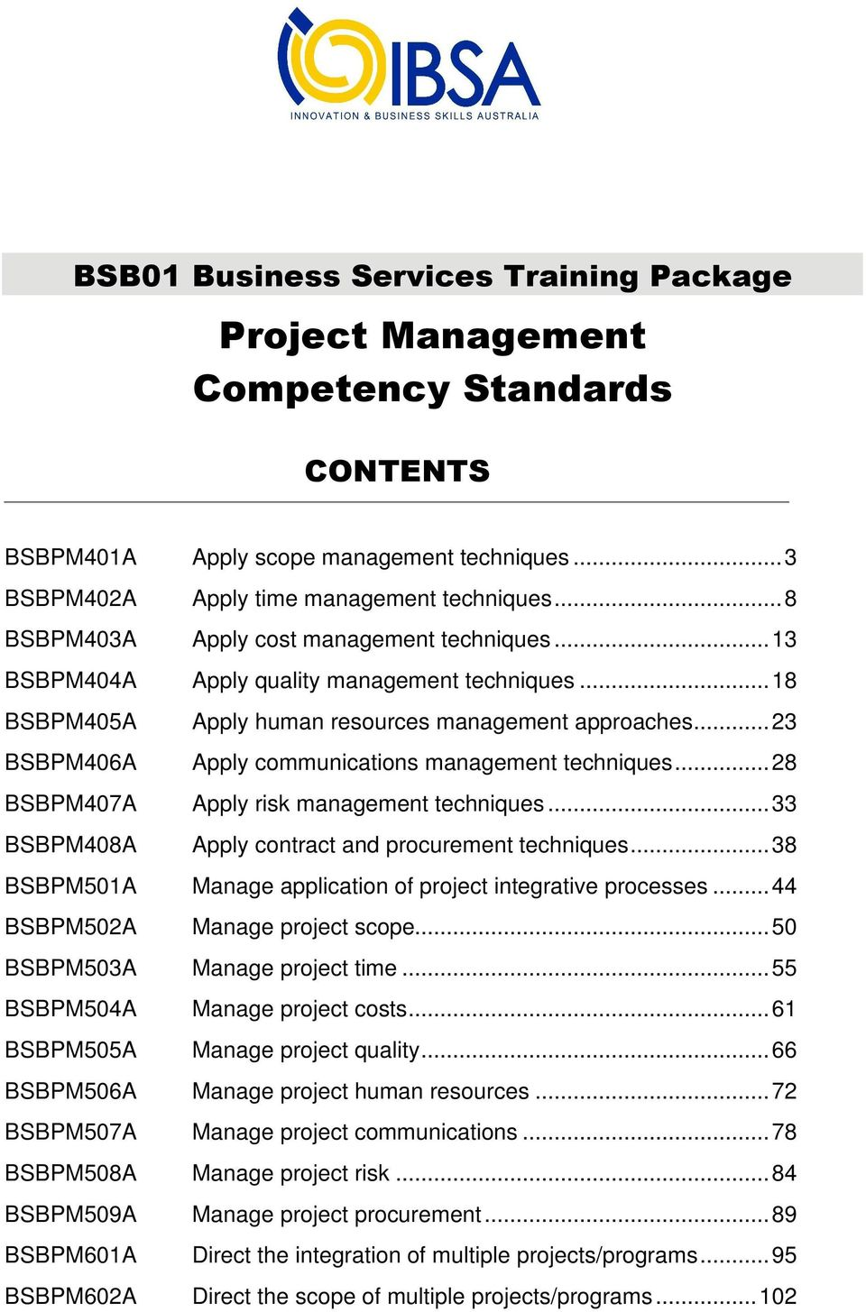 ..23 BSBPM406A Apply communications management techniques...28 BSBPM407A Apply risk management techniques...33 BSBPM408A Apply contract and procurement techniques.