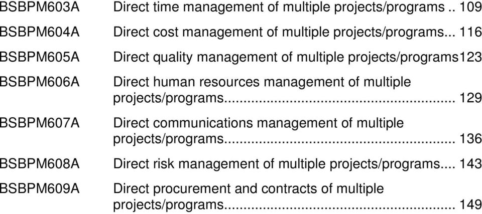 .. 116 BSBPM605A BSBPM606A BSBPM607A Direct quality management of multiple projects/programs123 Direct human resources management