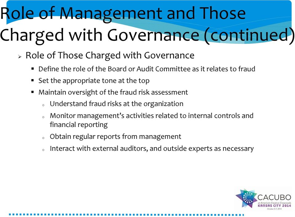assessment Understand fraud risks at the rganizatin Mnitr management s activities related t internal cntrls and